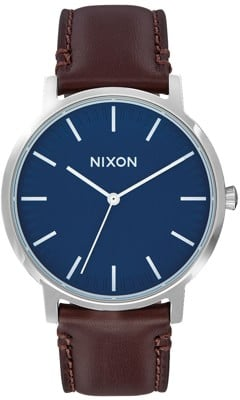 Nixon Porter Leather Watch - navy/brown - view large