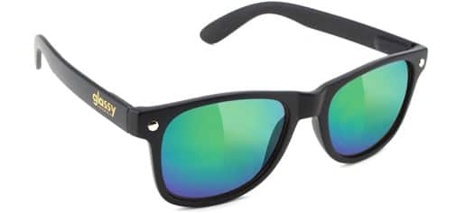 Glassy Leonard Sunglasses - matte black/green mirror lens - view large