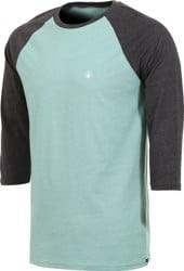 Volcom Solid Heather Raglan 3/4 Sleeve T-Shirt - sea blue heather