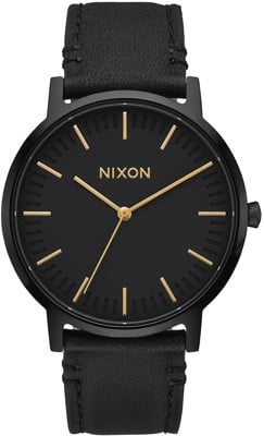 Nixon Porter Leather Watch - all black/gold - view large