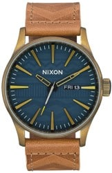 Nixon Sentry Leather Watch - brass/navy/hickory