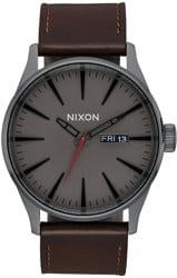 Nixon Sentry Leather Watch - gunmetal/black/dark brown