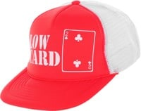 Lowcard Original Logo Mesh Trucker Hat - red panel/white mesh