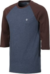 Volcom Solid Heather Raglan 3/4 Sleeve T-Shirt - indigo