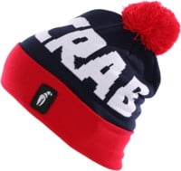 Crab Grab Pom Beanie - navy/red