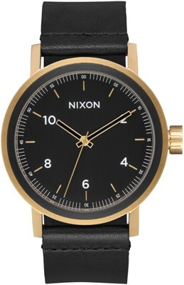 Nixon Stark Leather Watch - all black/gold - view large