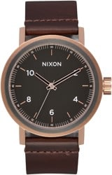 Nixon Stark Leather Watch - rose gold/gunmetal/brown