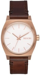 Nixon Medium Time Teller Leather Watch - rose gold/white/brown