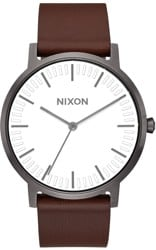Nixon Porter Leather Watch - gunmetal/white/brown