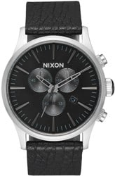 Nixon Sentry Chrono Leather Watch - black/gunmetal/black