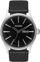 Nixon Sentry Leather Watch - black/gunmetal/black