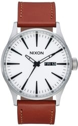 Nixon Sentry Leather Watch - white sunray/saddle