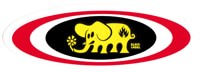 Black Label Oval Elephant Sticker - red