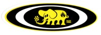 Black Label Oval Elephant Sticker - yellow