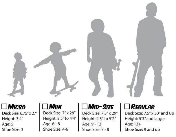 Skateboard deck size chart