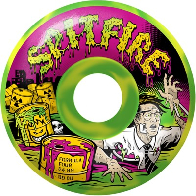 Spitfire Formula Four Classic Skateboard Wheels - toxic apocalypse green/yellow swirl afterburners (99d) - view large