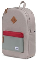 Herschel Supply Heritage Backpack - light khaki crosshatch/shadow/brick red tan