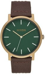 Nixon Porter Leather Watch - palm green/brass/brown