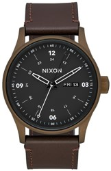 Nixon Sentry Leather Watch - bronze cerakote/brown