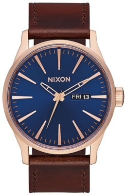 Nixon Sentry Leather Watch - rose gold/navy/brown - view large