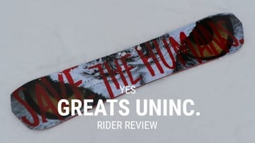 YES Greats UnInc. 2019 Snowboard Rider Review