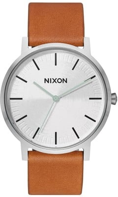 Nixon Porter Leather Watch - silver/tan - view large