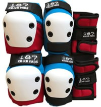 187 Killer Pads Six Pack Junior Pad Set - red/white/blue