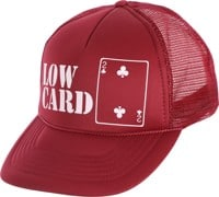 Lowcard Original Logo Mesh Trucker Hat - all maroon