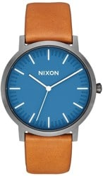 Nixon Porter Leather Watch - navy/gunmetal