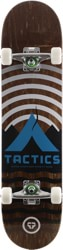 Tactics Base Camp 8.0 Complete Skateboard - brown deck / raw trucks / white wheels
