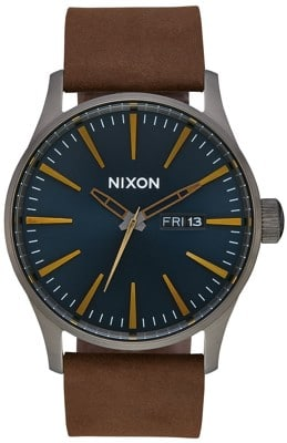 Nixon Sentry Leather Watch - gunmetal/indigo/brown - view large