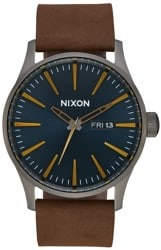 Nixon Sentry Leather Watch - gunmetal/indigo/brown