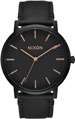 Nixon Porter Leather Watch - all black/rose gold - view large