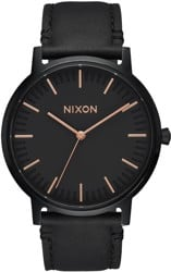 Nixon Porter Leather Watch - all black/rose gold