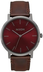 Nixon Porter Leather Watch - gunmetal/burgundy/brown