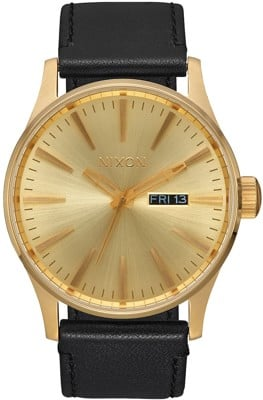 Nixon Sentry Leather Watch - all gold/black - view large
