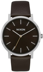 Nixon Porter Leather Watch - dark cedar/dark brown