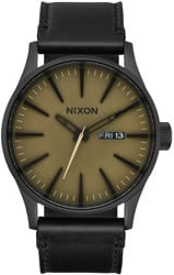 Nixon Sentry Leather Watch - black/matte sage/black