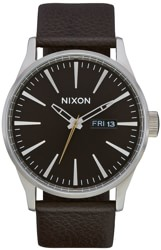 Nixon Sentry Leather Watch - dark cedar/dark brown
