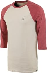 Volcom Solid Heather Raglan 3/4 Sleeve T-Shirt - oatmeal
