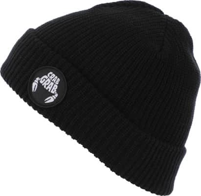 Crab Grab Claw Circle Patch Beanie - black - view large