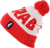 Crab Grab Pom Beanie - white/red