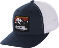 Never Summer Retro Mountain Mesh Flex Fit Trucker Hat - navy/white