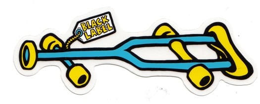 Black Label Crutch Sticker - blue/yellow text - view large
