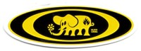 Black Label Oval Elephant Sticker - all yellow