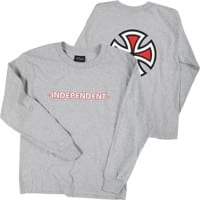 Independent Kids Bar/Cross L/S T-Shirt - athletic heather