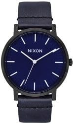 Nixon Porter Leather Watch - all black/dark blue