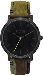 Nixon Porter Leather Watch - black/camo/volt