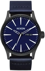 Nixon Sentry Leather Watch - all black/dark blue