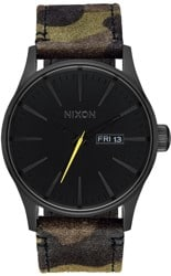 Nixon Sentry Leather Watch - black/camo/volt